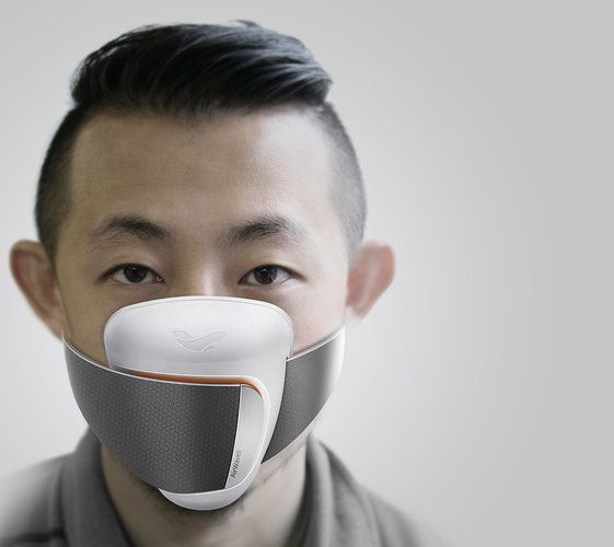 "AirWaves-Shanghai. Frog calls AirWaves a ""contemporary pollution mask."" Particle sensors measure air quality in real time, then feed that geolocated data to the cloud."