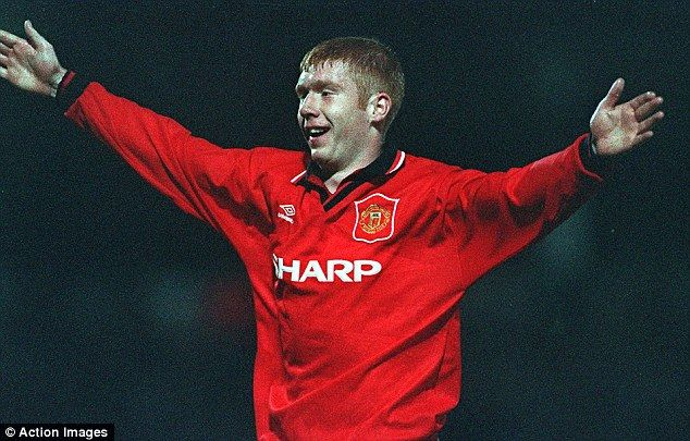 Paul Scholes celebrates a second goal on his Manchester United debut against Port Vale in the 1994 League Cup