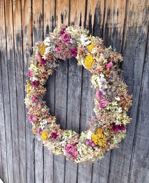 Hydrangea Wreath with Dried Flowers by RebeccaWattsDesigns on Etsy, $70.00