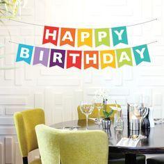Instant Download - Happy Birthday Banner - Rainbow Birthday Banner - DIY Printable Banner