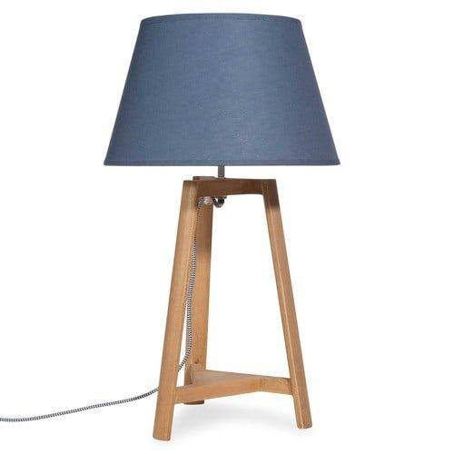 Lampe imitation bois abat-jour bleu marine HONFLEUR