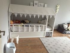 lit ikea kura remodeler mur de tente blanche peinture gris clair #chambre # enfants   – kinderzimmer