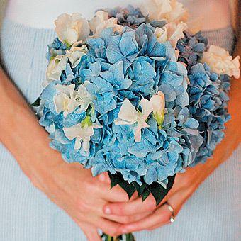 Wedding Bouquets: Hydrangea & Sweet Pea