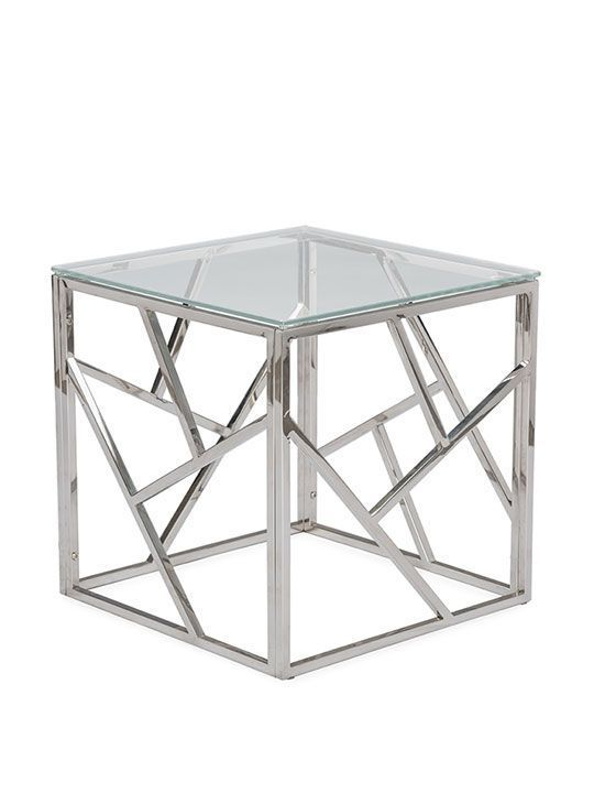 Aero Chrome Glass Side Table | Modern Furniture • Brickell Collection