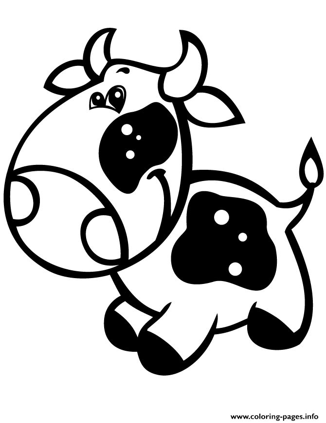 print super cute baby cow easy coloring pages - Super Cute Animal Coloring Pages