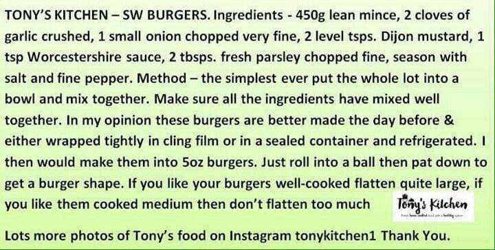 Tony's sw beefburgers