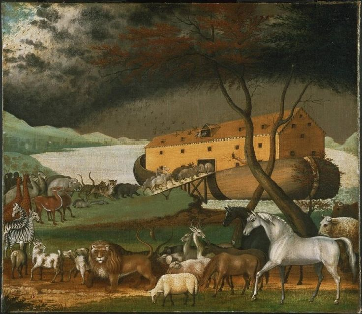 """Noah's Ark, oil on canvas painting by Edward Hicks. """"You are to bring into the ark two of all living creatures, male and female, to keep them alive with you. Two of every kind of bird, of every kind of animal and of every kind of creature that moves along the ground will come to you to be kept alive. You are to take every kind of food that is to be eaten and store it away as food for you and for them."""" Genesis 6:19-21"""