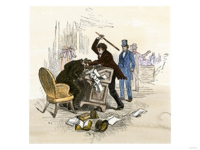 One of the most publicized events that occurred in Bleeding Kansas was when Ruffians ransacked Lawrence, Kansas. Then one day later, in the U.S. Senate, Democratic Congressman, Preston Brooks, attacked Senator Charles Sumner with a cane after Sumner spoke out against Southerners responsible for violence in Kansas