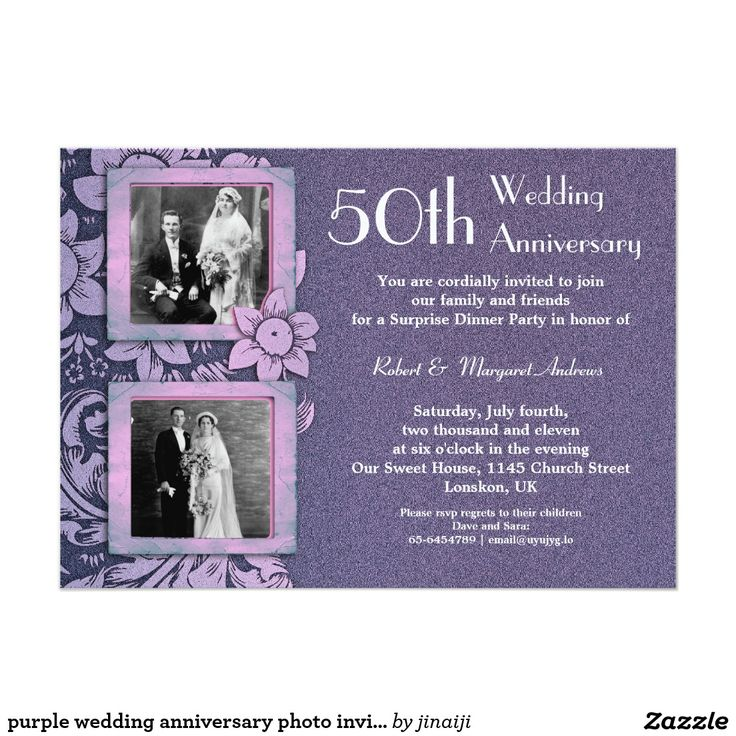 free printable0th wedding anniversary invitations%0A purple  x  wedding anniversary photo invitation  Artwork designed by  jinaiji