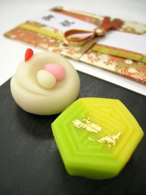 Japanese Sweets, 慶祝和菓子「千代の鶴」と「寿ぎの亀」