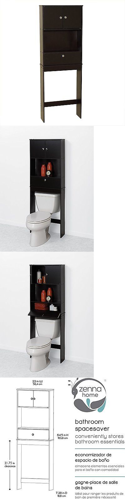 Bath Caddies and Storage 54075: Bathroom Spacesaver Drop Door Over The Toilet Storage Display Cabinet Organizer -> BUY IT NOW ONLY: $53.76 on eBay!