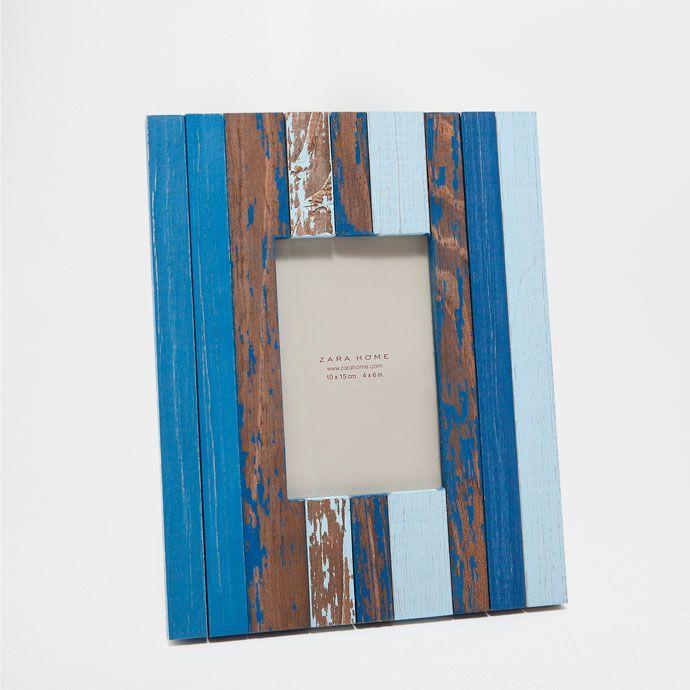 Рамка из дерева двухцветная в синих тонах