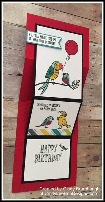 SU Bird Banter Fun Fold for Creating Pretty Cards # 78   Created by Cindy Brumbaugh of CindyLeeBee Designs.com
