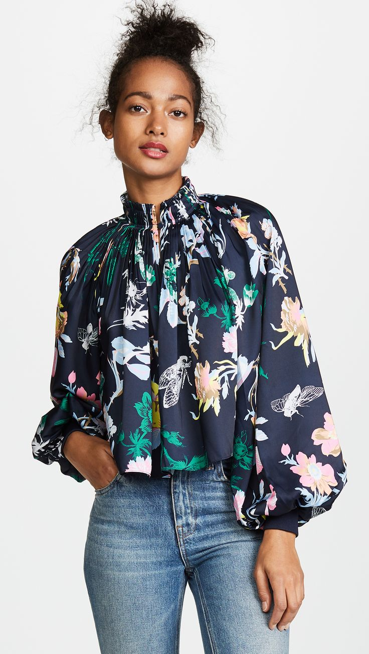 Pretty high neckline and dark floral patterned top by Tibi from Shopbop! // http://rstyle.me/n/ctq66ecb5bp