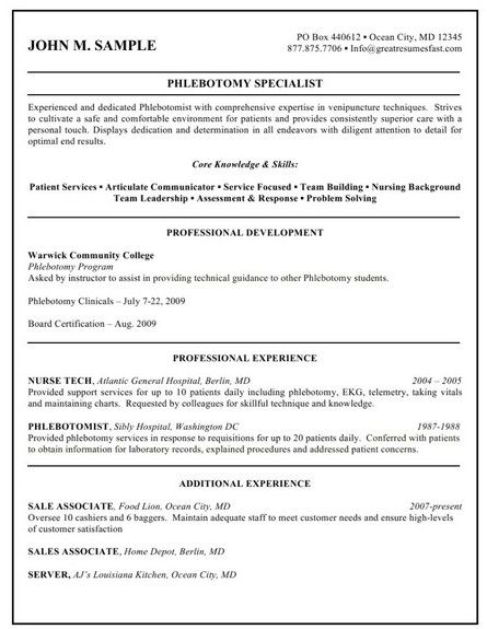 461 best Job Resume Samples images on Pinterest Job resume - phlebotomist resume example