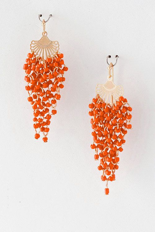 Poppy Rella Chandelier Earrings. Gold and orange arent my colours but i love the shape - would be amazing in silver and blue!