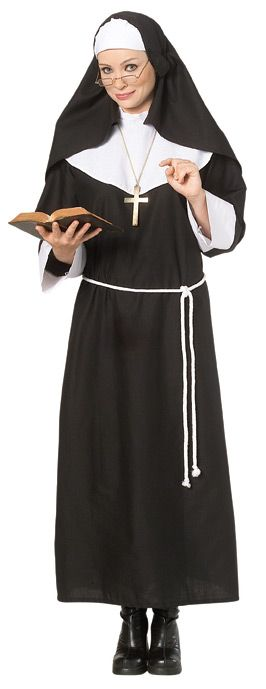 Deluxe Holy Nun Halloween Costume - Calgary, Alberta. Great to pair with a priest or wear to a theme party or Halloween. Not only is this Nun costume easy to wear, but it would be appropriate for work too. Super funny when the nun costume is worn by a man but great for any adult. Also a good choice for taking the kids Halloween trick-or-treating in Canada, no problem putting on the layers. Halloween doesn't get much easier than wearing this Nun costume.