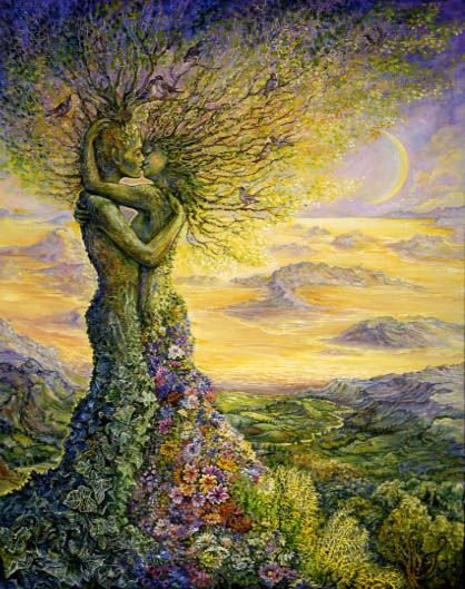 Nature's Embrace    On a magical twilight night, high above the golden moonlit landscape, two trees embrace in a demonstration of perfect love. Their roots entwined, and birds singing joyfully in their branches, they give us all a lesson on how we should treat our precious earth. If only we could all embrace each other in such perfect harmony..!!  Art by Josephine Wall