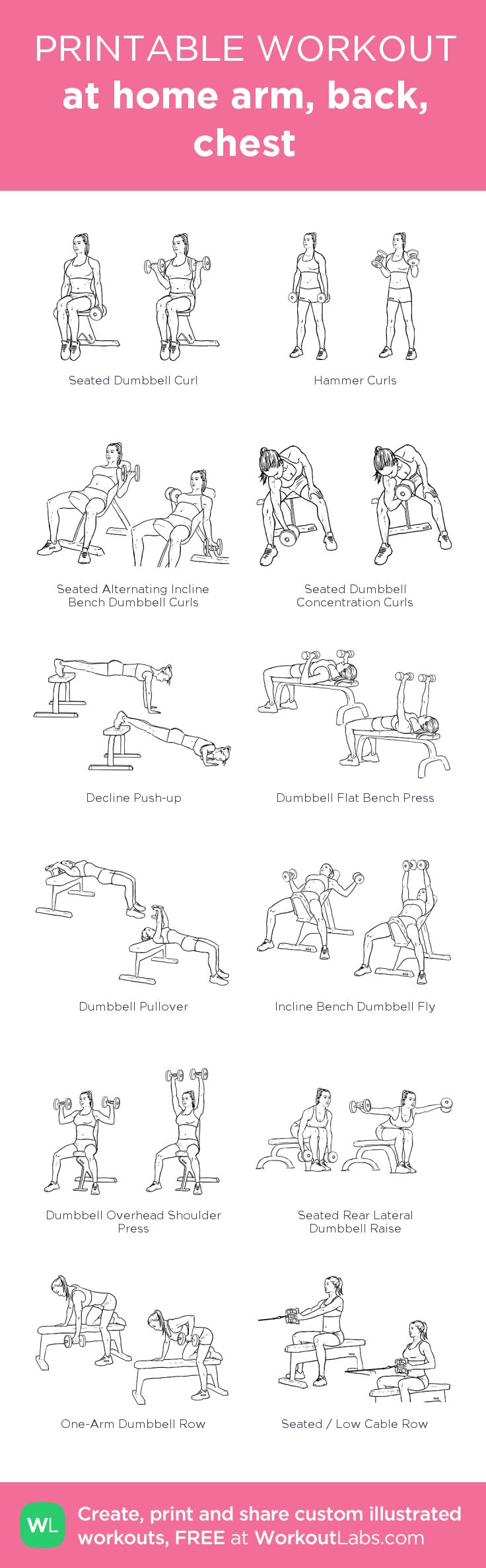 at home arm, back, chest: my visual workout created at WorkoutLabs.com • Click through to customize and download as a FREE PDF! #customworkout