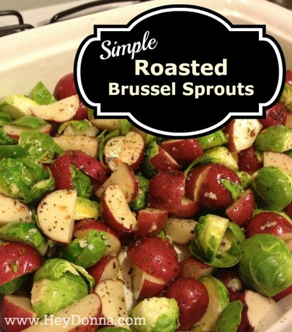 Simple Roasted Brussel Sprouts and potatoes!! Quick and easy side dish.