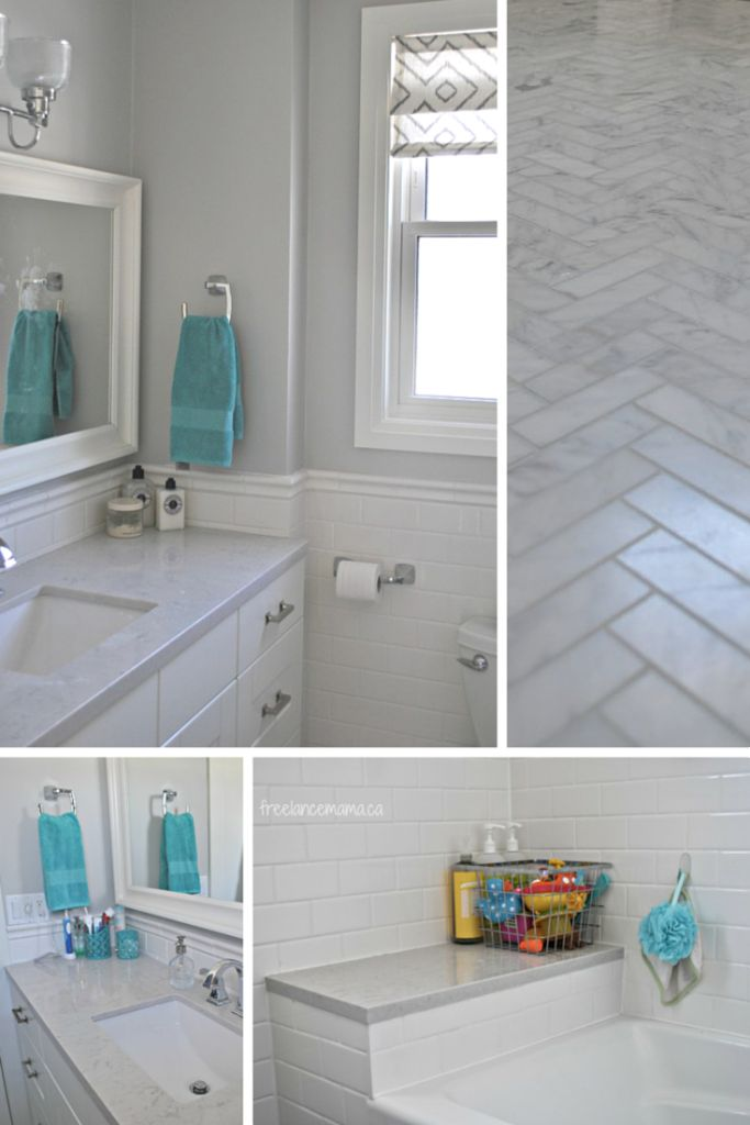 Images On White and gray bathroom with subway tile herringbone carrara marble floors and Silestone Lagoon countertops