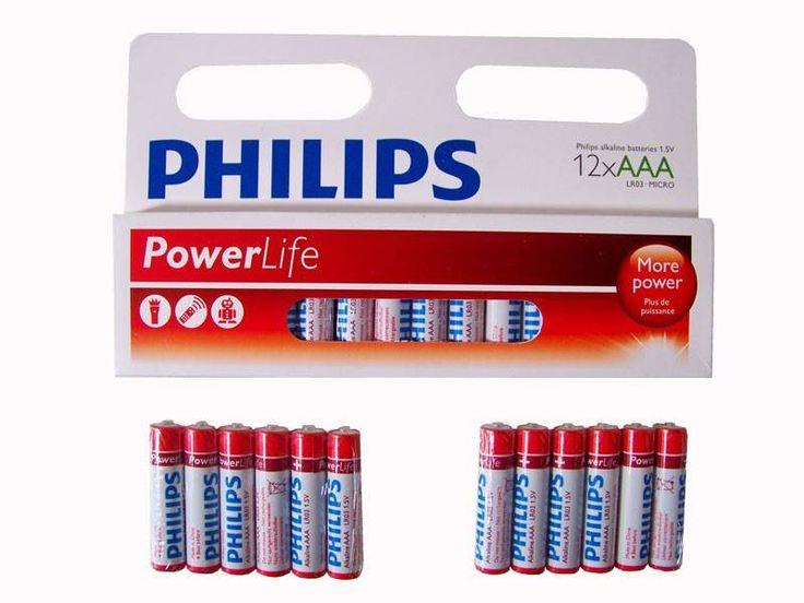 12-Pack Philips Power Alkaline Batterijen (AAA LR03-Micro 1.5V)