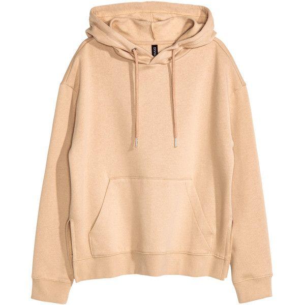 Hooded Sweatshirt $24.99 ($25) ❤ liked on Polyvore featuring tops, hoodies, hooded sweatshirt, beige top, slit tops, ribbed top and hoodie top