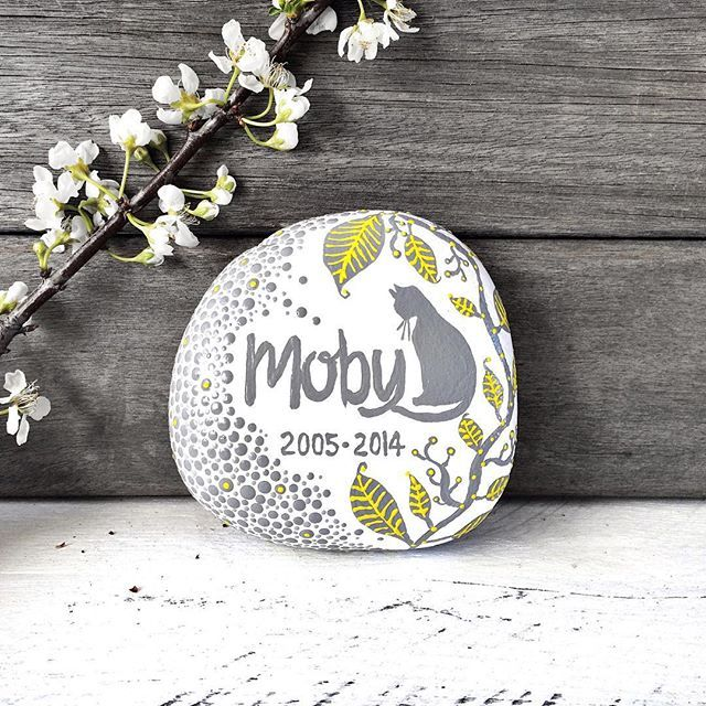 A recent pet memory rock made for a beautiful cat called Moby ❤️ #petmemoryrocks