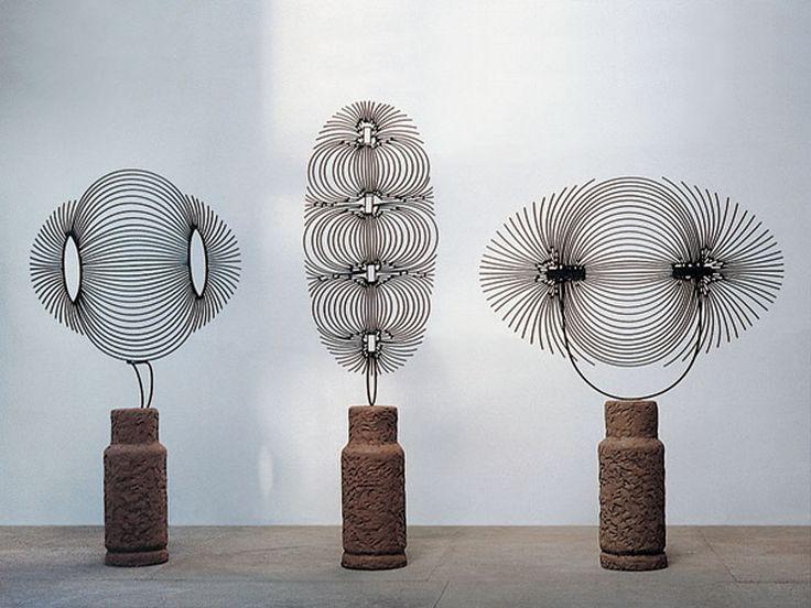Zadok Ben-David  Early Work, Magnetic Fields I, II, III, 1990  Metal, cement, glass fiber, resin and pigment