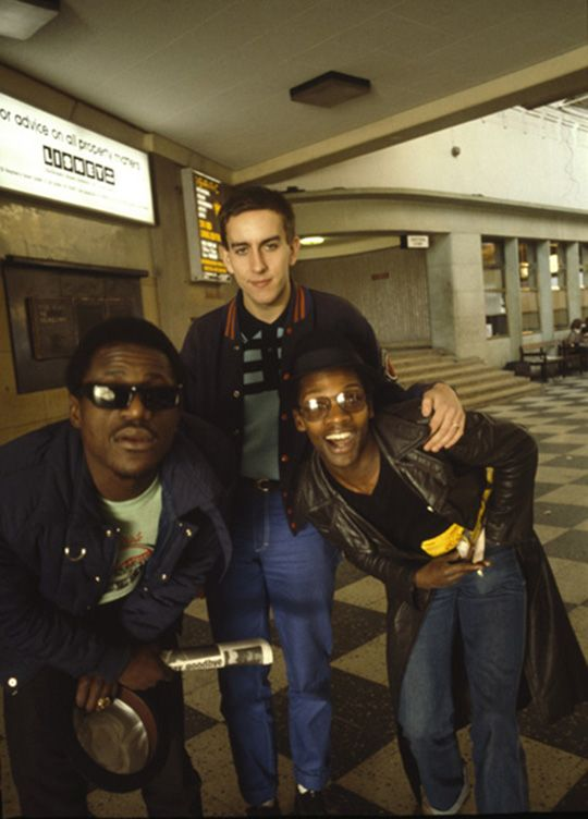 The Specials: Neville Staple, Terry Hall and Lynval Golding, photo Jill Furmanovsky, Dublin 1979. Terry Hall ALMOST smiling