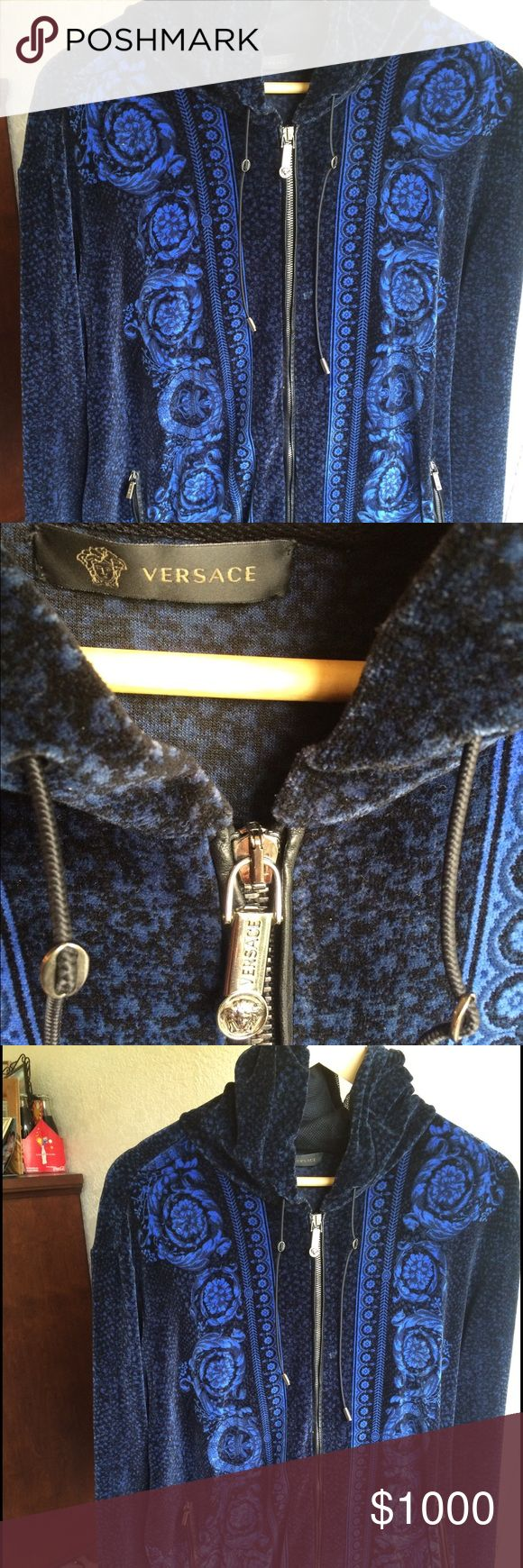 Authentic blue and black Versace hoodie Authentic blue and black Versace medusa hoodie with gold zippers Versace Jackets & Coats