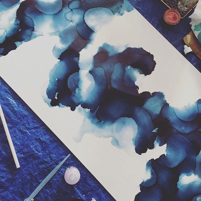 I'm excited about this one!  WIP • #inprogress #WIP #liquidart #fluidart #canvas #abstract #blue #alcoholink #art #originalart #artstagram #instaart #yyc #yycartist