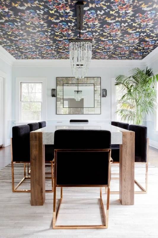 wallpaper ceiling dining homepolish