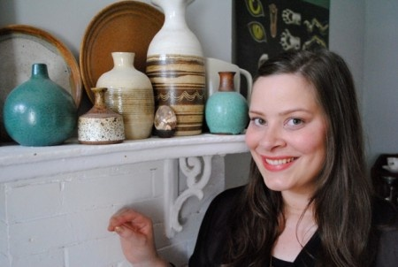 Alison Feldmann and her pottery collection