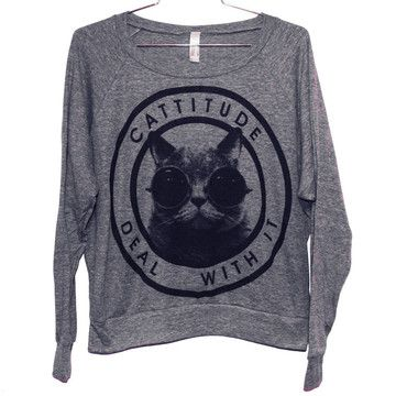 Burger And Friends: Cattitude Raglan Women's Gray, at 11% off!