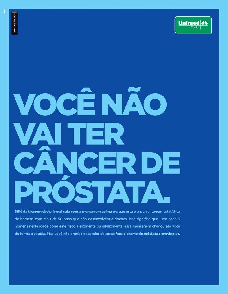 """A Heads Propaganda lança nesta segunda-feira (24), a nova campanha criada para a Unimed Curitiba. O objetivo é fazer um alerta sobre a importância do exame de próstata. São dois anúncios, praticamente iguais, que circularão ao mesmo tempo, no jornal Metro.   A estratégia é que o leitor não receba os dois ao mesmo tempo: o primeiro, impresso em 15% dos jornais, tem o seguinte título """"Você vai ter câncer de próstata""""; e o segundo, com circulação em 85% dos jornais, tem o título """"Você não…"""
