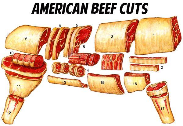 1. chuck; 2. flanken-style ribs; 3. rib; 4. back ribs; 5. short loin; 6. Porterhouse steak; 7. tenderloin; 8. sirloin; 9. round; 10. boneless rump roast; 11. round steak; 12. hind shank; 13. flank; 14. flank steak rolls; 15. short plate; 16. brisket; 17. fore shank