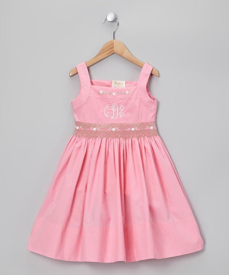 Take a look at this Rosalina Pink Ella Monogram Sundress - Toddler on zulily today!