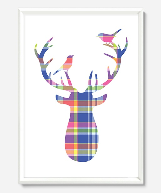 Art Prints : Plaid Deer Print