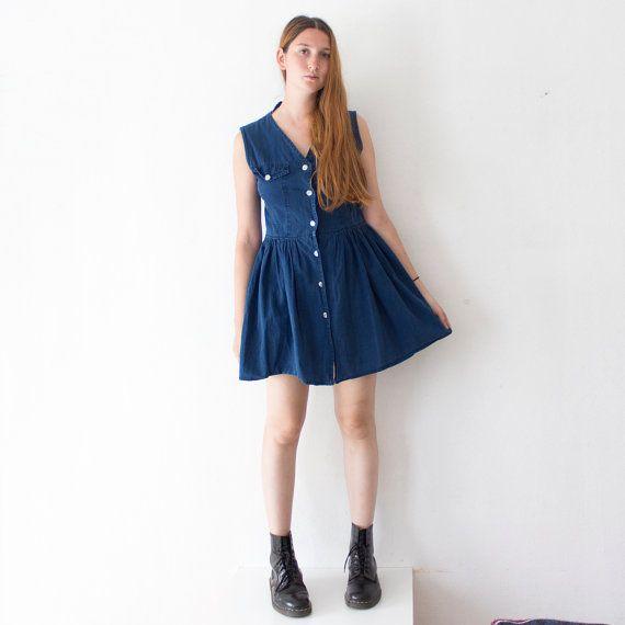 Vintage 90s Denim Dress / blue button dress / Size M by ZiePulci