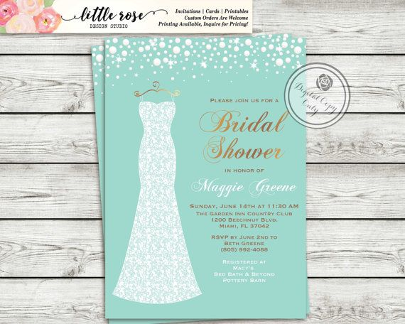 Wedding Dress Bridal Shower Invitation  Pearls by LittleRoseStudio
