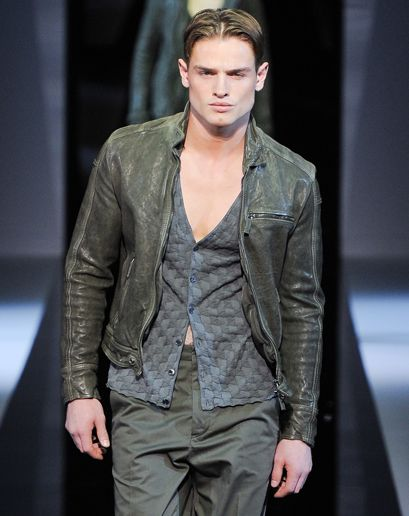 """Emporio Armani """"The shorter, washed and olive bomber.""""—Ted Stafford, GQ European market editor: Fashion Week"""