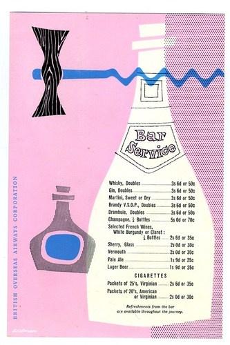 BOAC Bar Service Menu and Information Card 1959