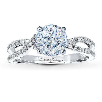 0.55 Carat I-I1 Ideal Cut Round Diamond plus Scott Kay Ring Setting 1/8 ct tw Diamonds 14K White Gold