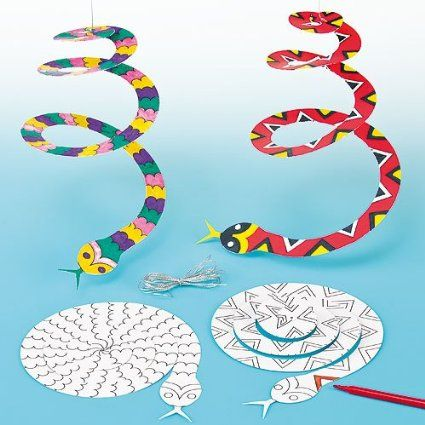 Spiral Snake Card Mobiles with Gold Cord for Hanging, 2 Designs for Children to Paint & Decorate (Pack of 10)