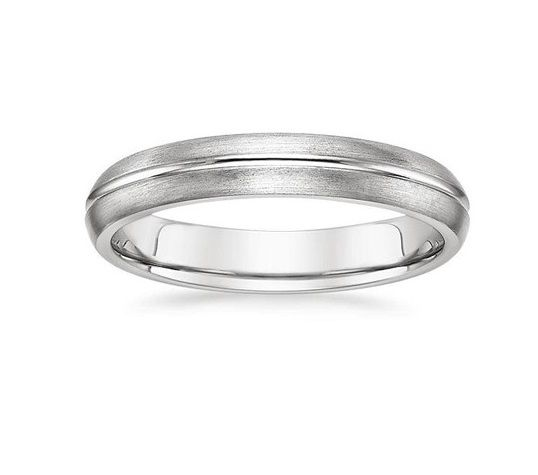 ''Hippy'' 4MM Matte Confort Fit Wedding Ring This contemporary ring features a smooth, high-polished groove surrounded by a matte-finished band.  The rounded inside edges provide increased comfort.  Available in  White Gold, Yellow Gold and 950 Platinum & Palladium.