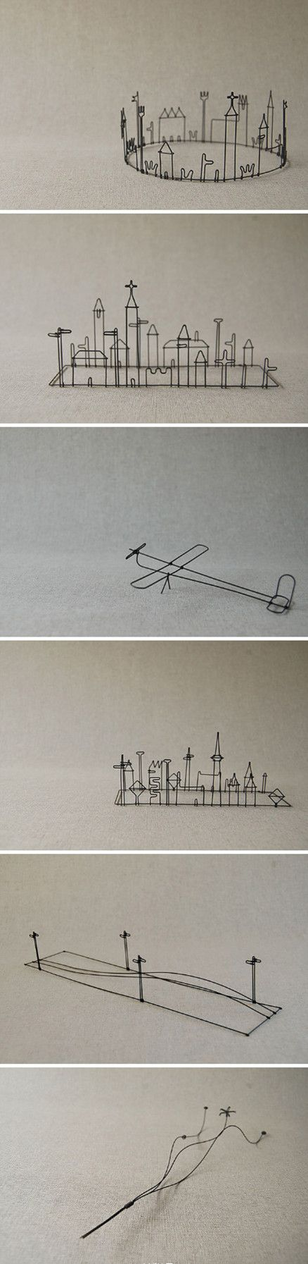 Something to do with a 3Doodler-pen? These wire art pieces are so simple and so expressive.