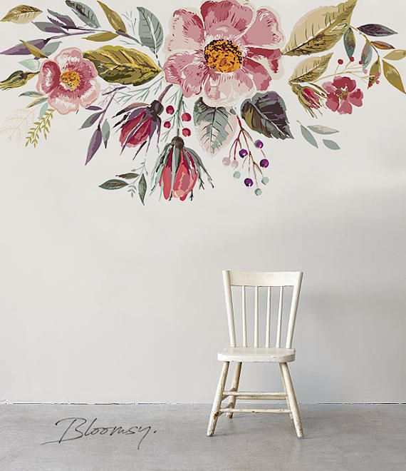 Removable Wallpaper – Vintage Field Flowers Mural – Repositionable Mural – Repositionable – Contemporary Wallpaper – Wall Stickers