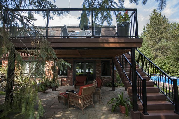 This is a 2nd storey custom deck using Nylodeck decking. it is in Ottawa.
