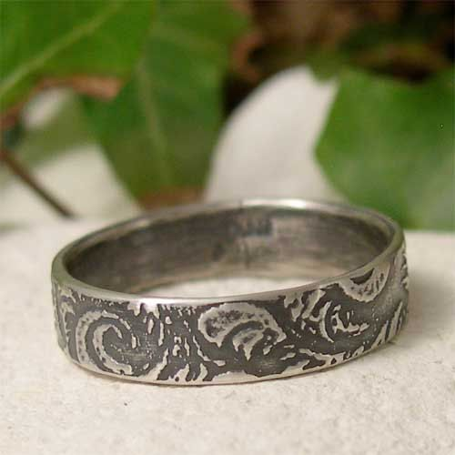 Sterling Silver Feather Ring, Simple Patterned Silver Ring Band, Promise Ring, Alternative Wedding Ring, Ring for Him, Jewelry Gift for Her